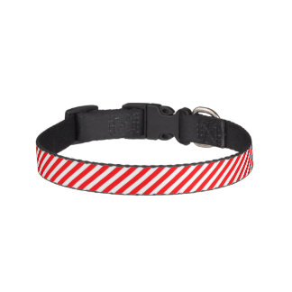 Diagonal Candy Cane Stripes-Christmas Red & White Dog Collars