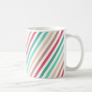 Diagonal Chic Multicolored Stripes Coffee Mug