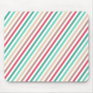 Diagonal Chic Multicolored Stripes Mouse Pad