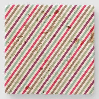 Diagonal Chic Multicolour Stripes Stone Coaster