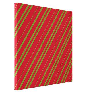 Diagonal Christmas Stripes Canvas Print