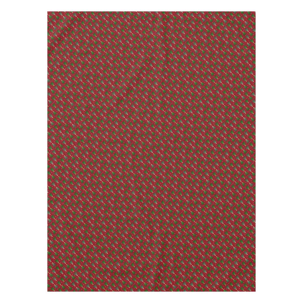 Diagonal Christmas Trees with Stars on Custom Red