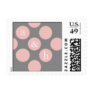 Diagonal Circles - Save The Date Pink & Gray Postage