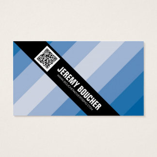 Diagonal Colored Stripes - Blue Business Card