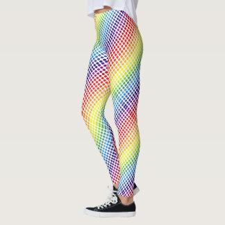 Diagonal Colourful Rainbow Polkadots Leggings