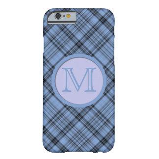 Diagonal Cornflower Blue Plaid Lavender Monogram Barely There iPhone 6 Case