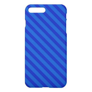 Diagonal dark cobalt blue Stripes iPhone 7 Plus Case