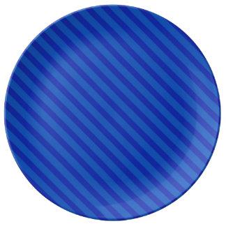 Diagonal dark cobalt blue Stripes Porcelain Plate