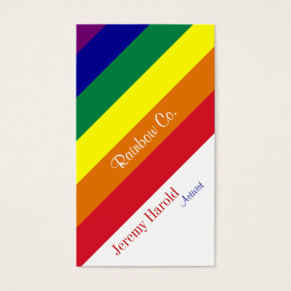 Diagonal de la bandera del arco iris tarjetas de visita