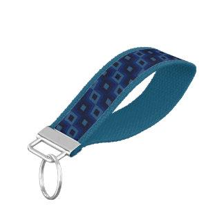 Diagonal Diamonds in Blue Wrist Key Chain