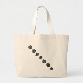Diagonal Dice (Dark) Large Tote Bag