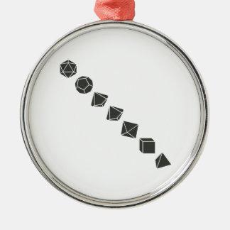 Diagonal Dice (Dark) Metal Ornament
