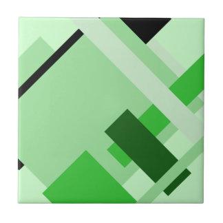 Diagonal Geometric Multi Green Shades Pattern Tile