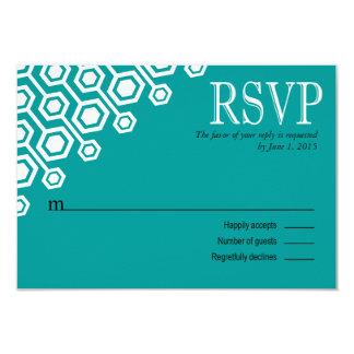 Diagonal Geometric RSVP Response | teal Card