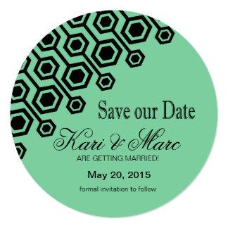 Diagonal Geometric Save the Date | mint Card