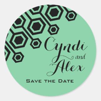 Diagonal Geometric Wedding Favor | mint Classic Round Sticker