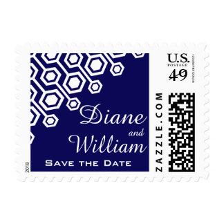 Diagonal Geometric Wedding | navy white Postage