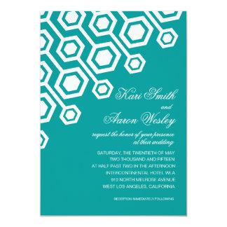 Diagonal Geometric Wedding | teal Card
