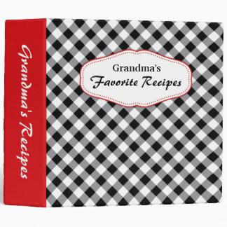 Diagonal gingham black and white recipes binder