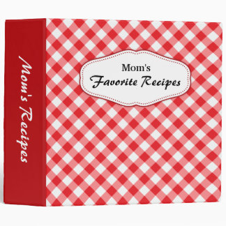 Diagonal gingham red and white recipes binder