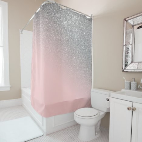 Diagonal Girly Silver Blush Pink Ombre Gradient Shower Curtain