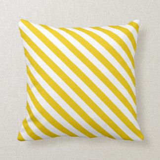 Diagonal Golden Yellow Stripes Throw Pillow