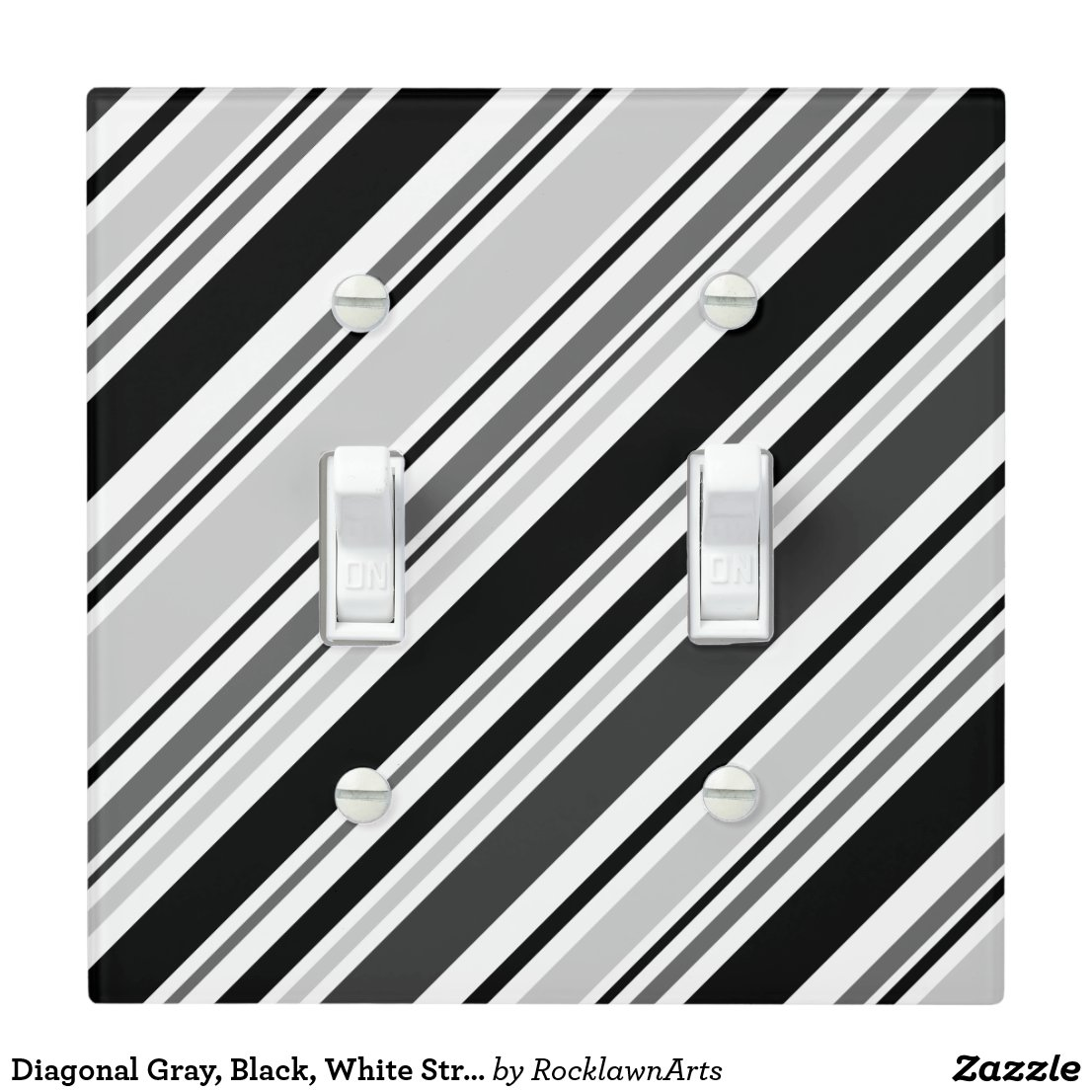 Diagonal Gray, Black, White Stripes Light Switch Cover