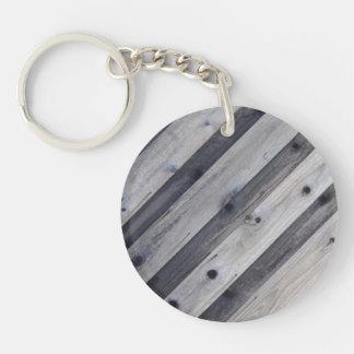 Diagonal Gray Wood Fence Keychain