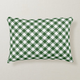 Diagonal Green and White Gingham Checked Plaid Accent Pillow