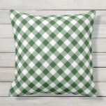 "Diagonal Green and White Gingham Checked Plaid Outdoor Pillow<br><div class=""desc"">Stylish outdoor throw pillow features dark green, white, and light green squares in a bold, checked plaid. The green and white gingham pattern was created from scratch. The white is actually transparent, so you can change it if you like. Just click the &quot;Customize it&quot; button, then select a ""Printed Background...</div>"