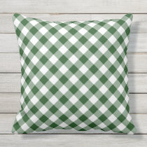 Diagonal Green and White Gingham Checked Plaid Outdoor Pillow
