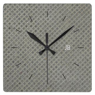 DIAGONAL GRID CONCRETE | industrial decor Square Wall Clock