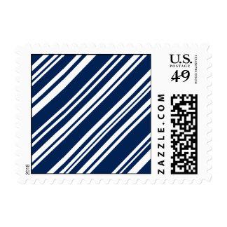 Diagonal Indigo and White Candy Stripes Postage