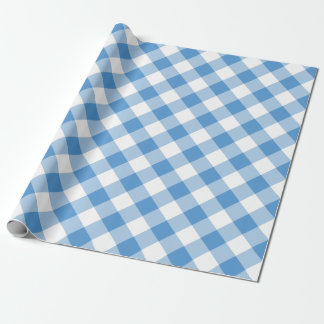 Diagonal Light Blue and White Buffalo Plaid Wrapping Paper
