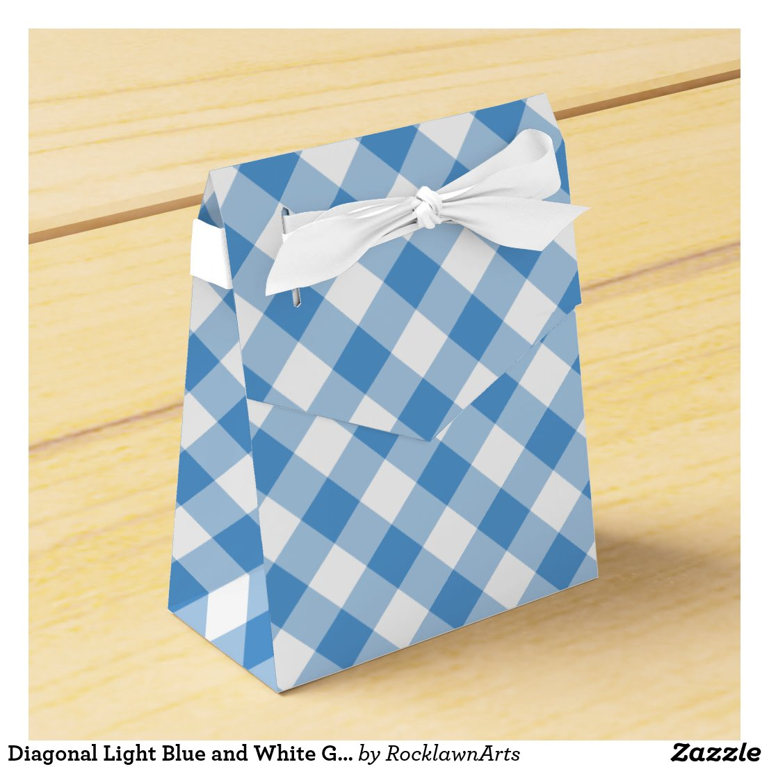 Diagonal Light Blue and White Gingham Plaid Favor Box