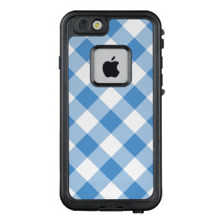 Diagonal Light Blue and White Gingham Plaid LifeProof FRĒ iPhone 6/6s Case