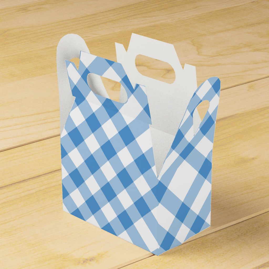 Diagonal Light Blue and White Plaid Favor Box