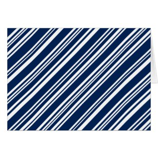 Diagonal Mixed Indigo and White Stripes Card