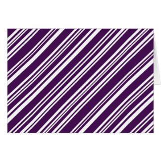 Diagonal Mixed Purple and White Stripes Card