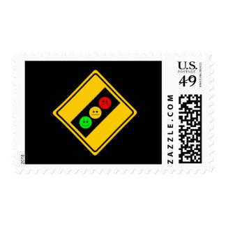 Diagonal Moody Stoplight Ahead Postage Stamp