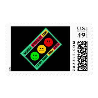 Diagonal Moody Stoplight Trio Logo Postage Stamp
