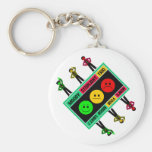 Diagonal Moody Stoplight Trio Logo with Characters Key Chains