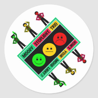 Diagonal Moody Stoplight Trio Logo with Characters Round Sticker