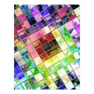 Diagonal Multicolored Tiled Reflections Letterhead