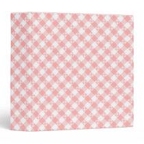 Diagonal Pink and White Gingham Checks Pattern 3 Ring Binder