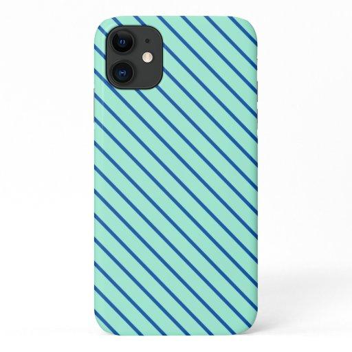 Diagonal pinstripes - aqua  and navy iPhone 11 case