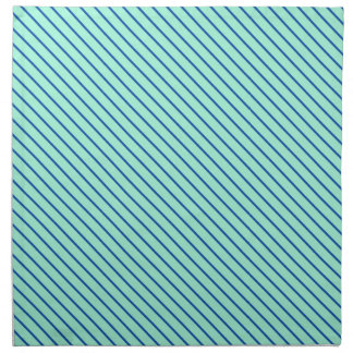 Diagonal pinstripes - aqua  and navy cloth napkin