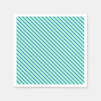 Diagonal pinstripes - aqua  and navy paper napkin