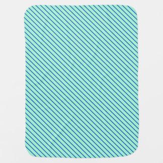 Diagonal pinstripes - aqua  and navy stroller blankets
