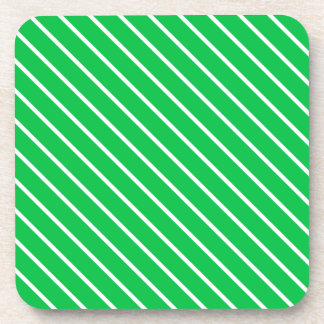 Diagonal pinstripes - emerald green and white beverage coaster